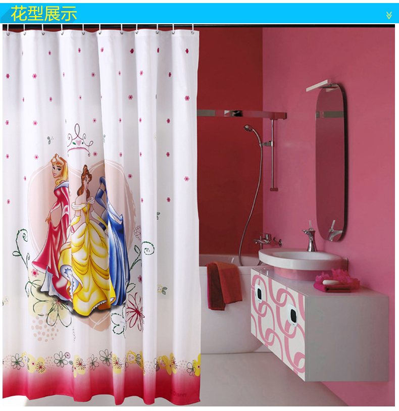 Three princess free shipping polyester shower curtain thick waterproof mildew shower curtain bathroom shower curtain waterproof polyester shower curtain