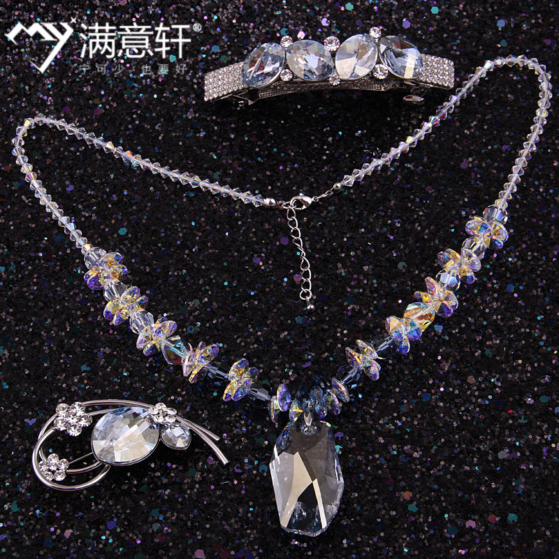 [Three] sets austrian rhinestone brooch brooch stellux crystal hairpin hair accessories jewelry necklace sets
