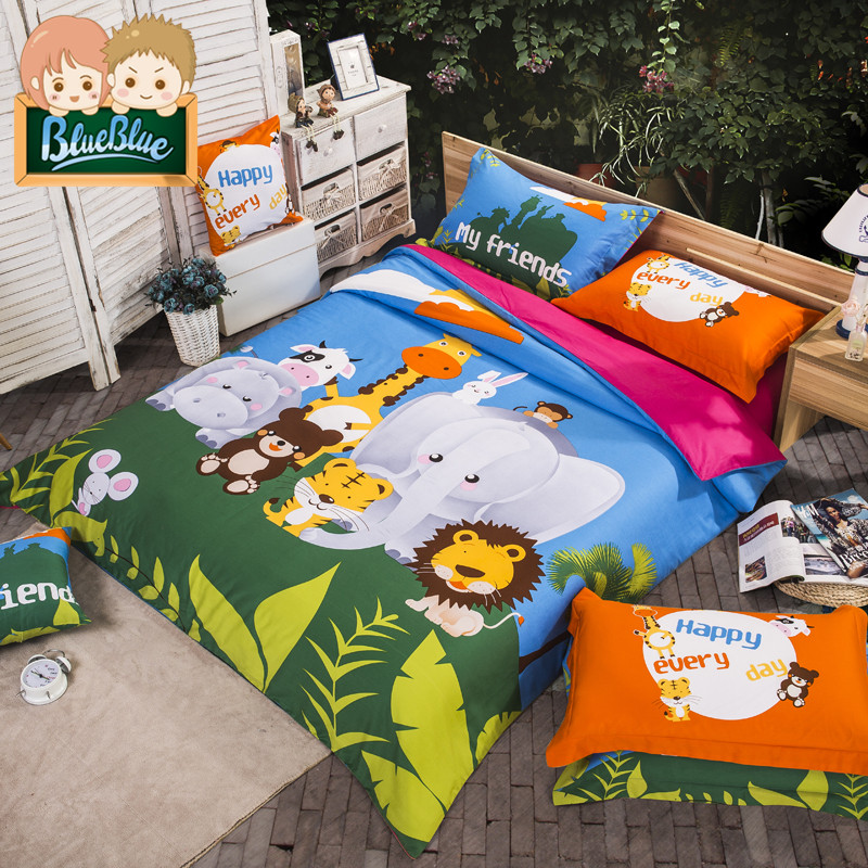 Three sets of cartoon children's bedding thick brushed cotton denim 1.51.8m bed quilt single male