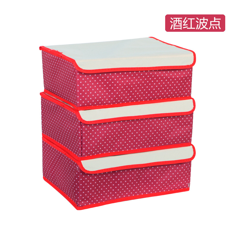 Three sets of underwear storage box oxford bucharest thick transparent cover bra underwear socks finishing storage box storage