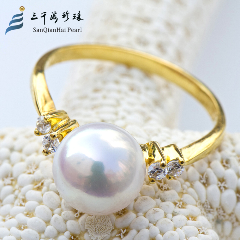 Three thousand sky white japanese akoya natural seawater pearl ring 8.5-9mm k gold female models fashion gift