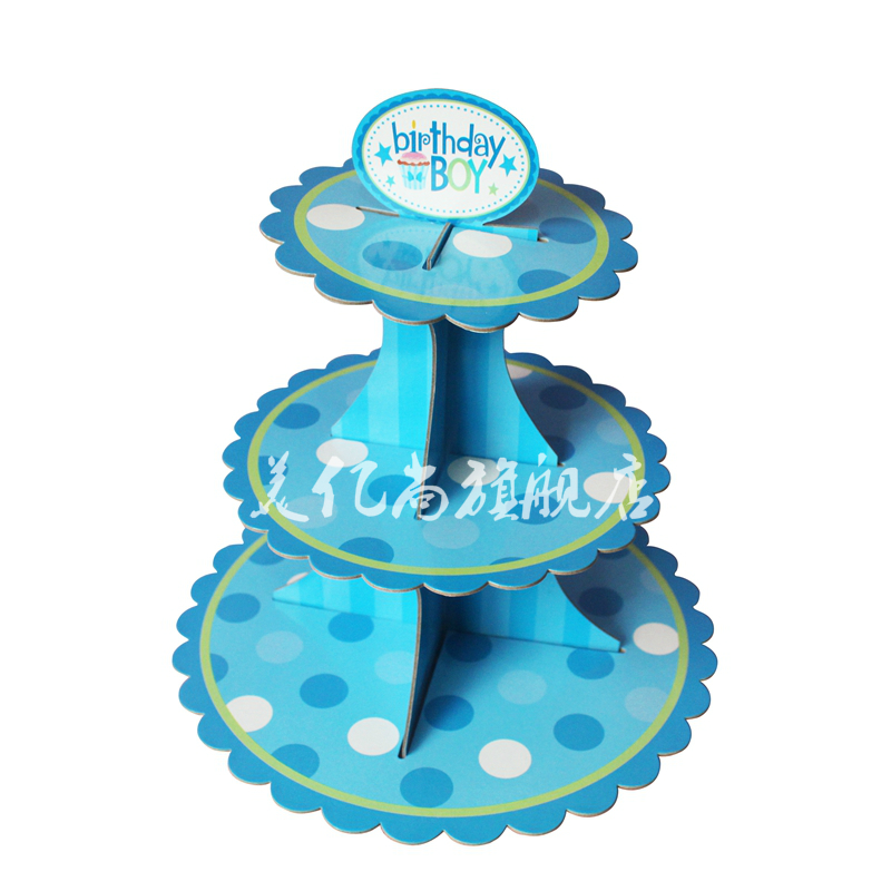 Three three layers of paper birthday party cake stand cake pastry snack tray tray wedding birthday decorative dessert station