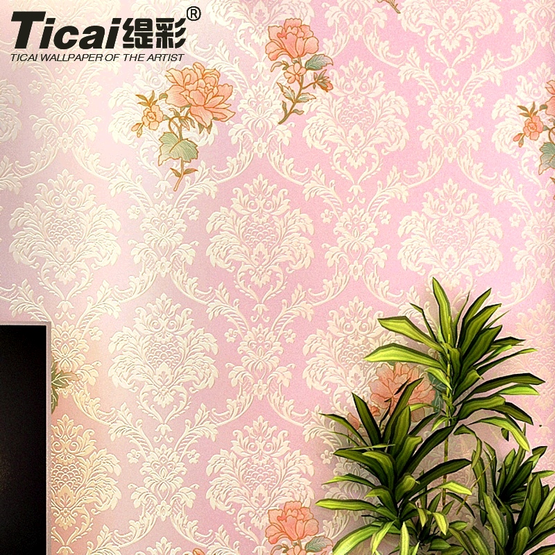 Ti color 3d stereoscopic relief embossing european luxury garden flower nonwoven wallpaper living room bedroom marriage room wallpaper