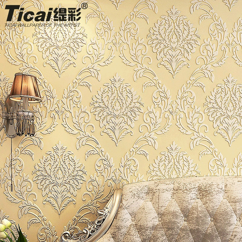 Ti color european nonwoven wallpaper 3d stereoscopic relief flocking wallpaper bedroom living room tv backdrop wallpaper