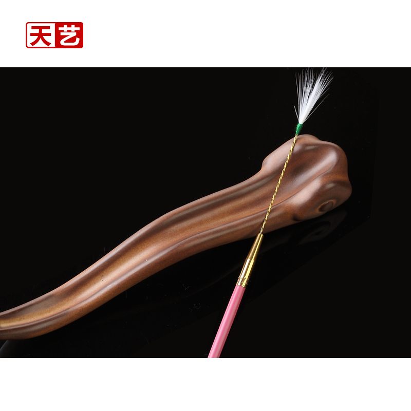 Tian yi brand rose red wooden handle copper crane hair stick/ear tool ershao/taoer duo tools/single