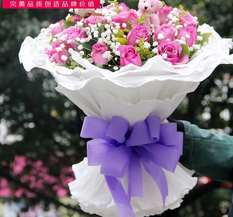 Tianjin city express flower delivery 11 19æµpurple rose woman's day bouquet of flowers birthday flower delivery flower shop flowers
