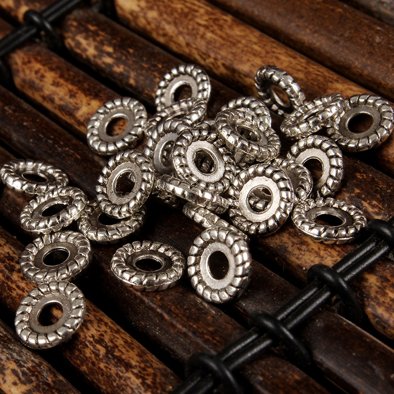 Tibetan silver retro silver alloy of gold and silver 37 silver spacer spacer loose beads spacer beads scattered beads diy fashion jewelry accessories