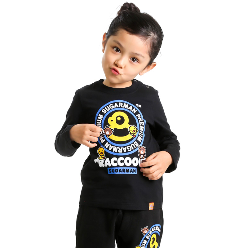Tide brand sugarman overseas flagship store new interesting series of raccoon tail children long sleeve t-shirt family fitted