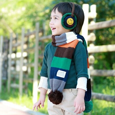 Time ticking shipping korean children in autumn and winter scarves baby bib boys and girls scarf knitted scarf knitting needles