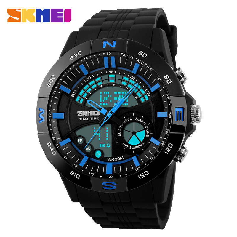 Time us dual display electronic watches men watch sports watch students tide dual display outdoor waterproof mountaineering male student multifunction table