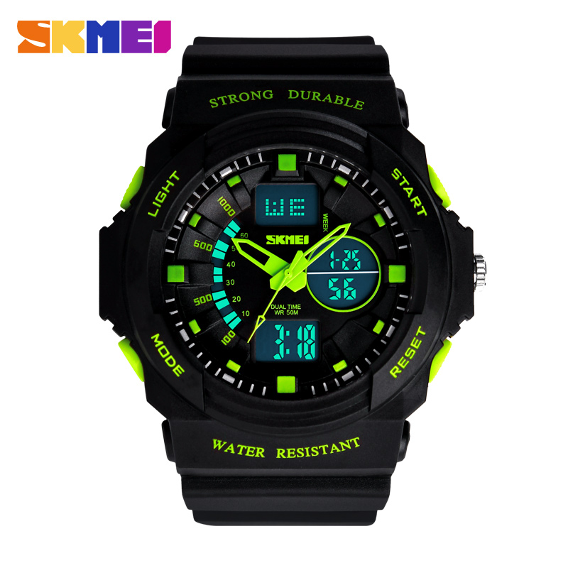 Time us men's watch multifunction dual display outdoor waterproof electronic watch korean fashion students watch