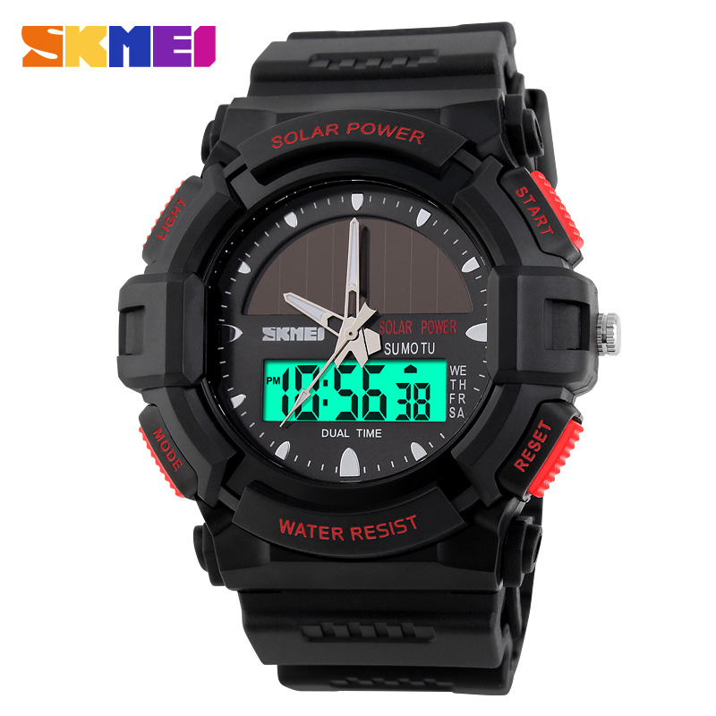 Time us solar electronic dual display multifunction watch men's fashion waterproof outdoor sports watch male student table