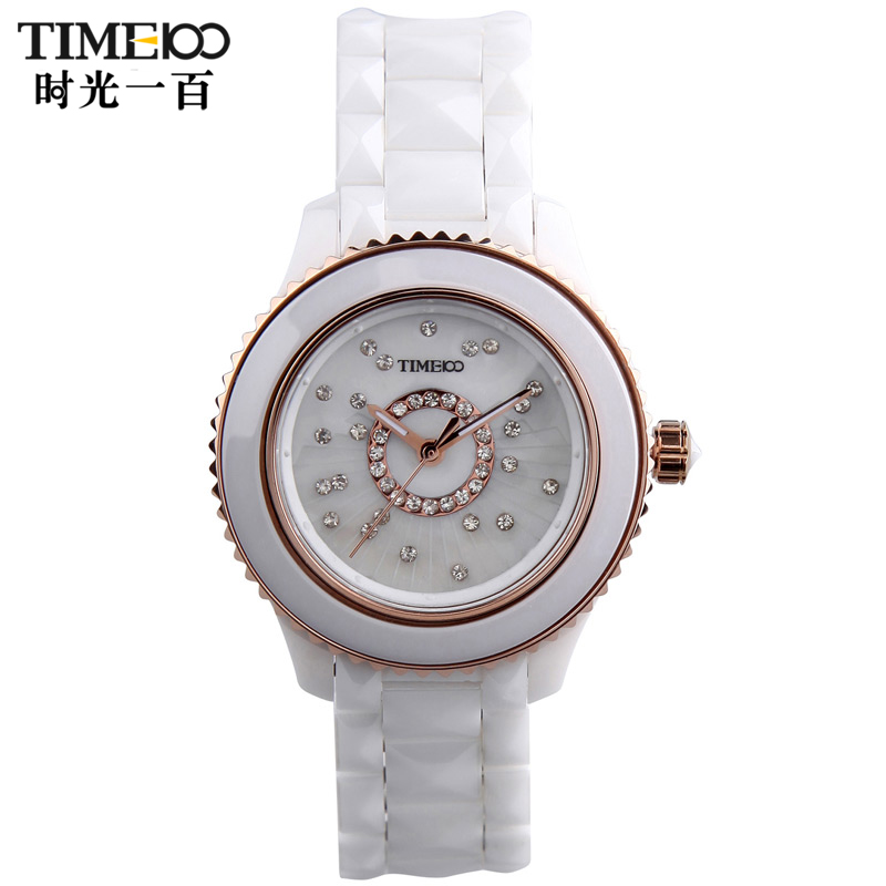 Time100/time one hundred flash diamond ladies watch ladies watches ceramic watches female form trend jane about watch quartz watch