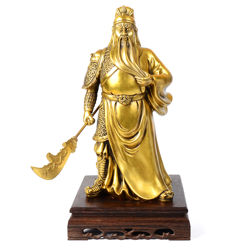 Times talented copper hengdao guan gong statue of guan er ye wu fortuna ornaments lucky living room home decorations