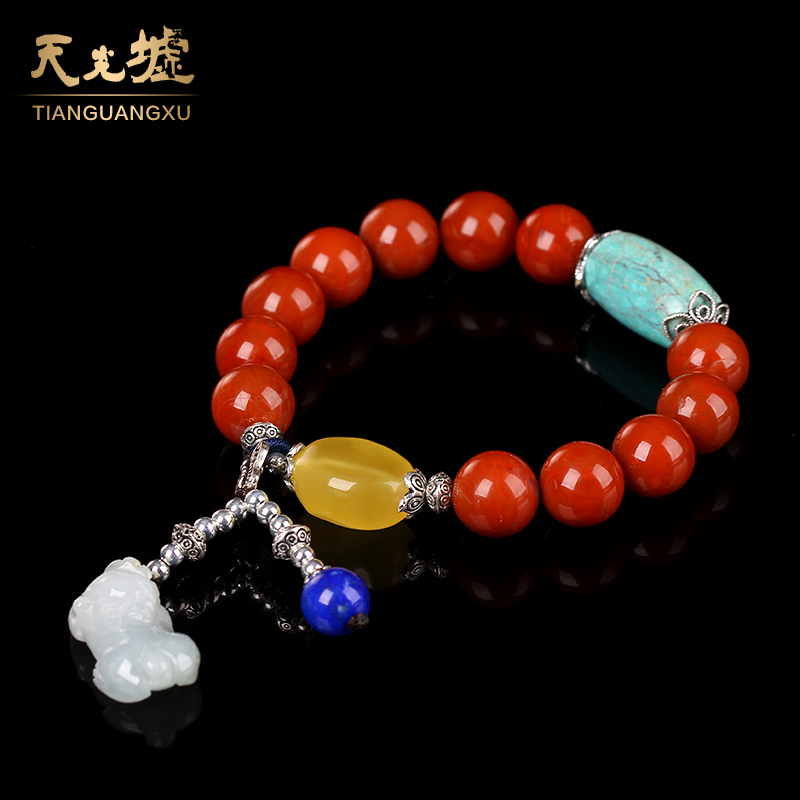 Tin kwong hui natural southern red bracelets southern red agate bracelet female models ethnic style turquoise stone beeswax passepartout bracelet