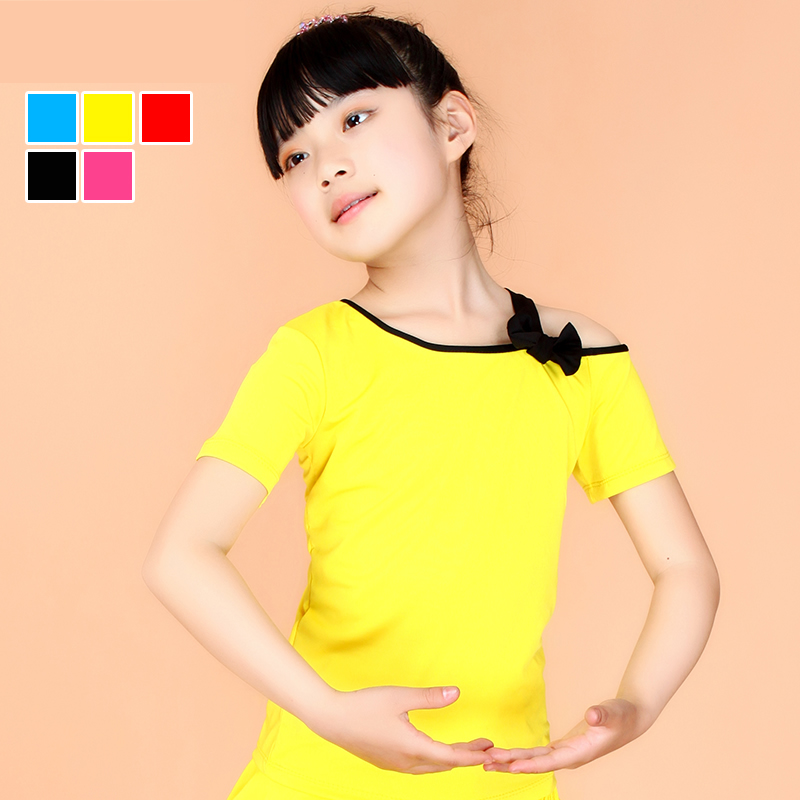 Tina dance tops short sleeve summer children's dance dance clothes latin girls latin dance clothes children dance clothes and
