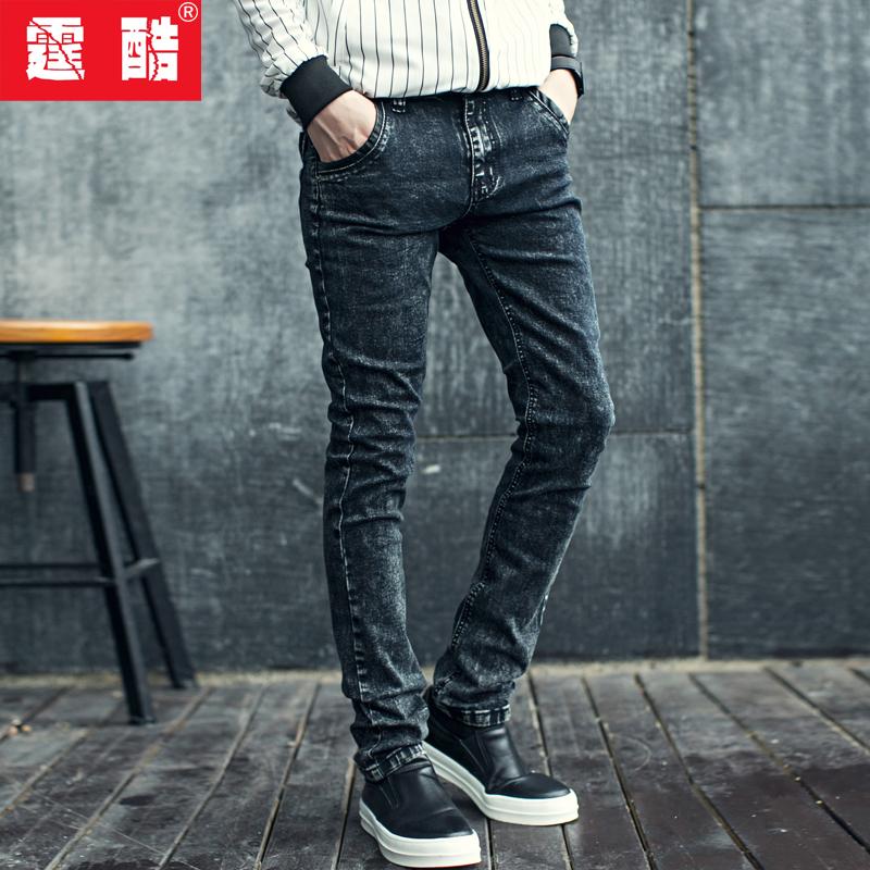 50ad39e804199 Get Quotations · Ting cool korean version of the adolescent boys jeans slim  men influx of men stretch trousers