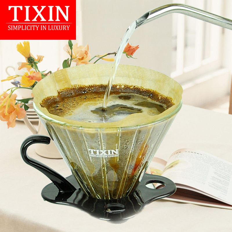 Tixin/ladder letter v02 hand punch filter cup coffee filter cup glass home drip brew coffee cup