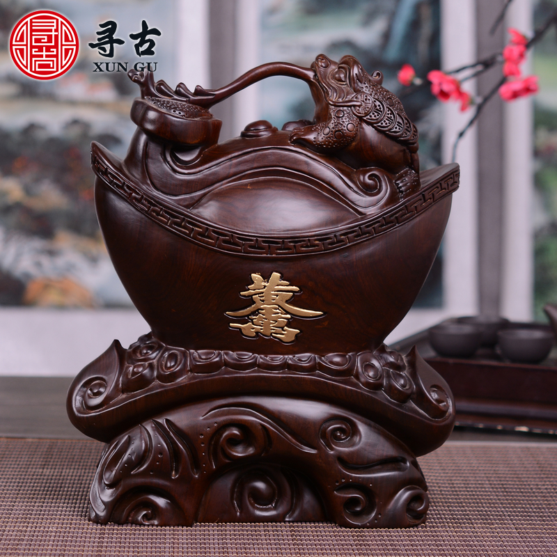 To find old toad gold ornaments ebony wood carving wood carving lucky opening gifts home crafts gifts