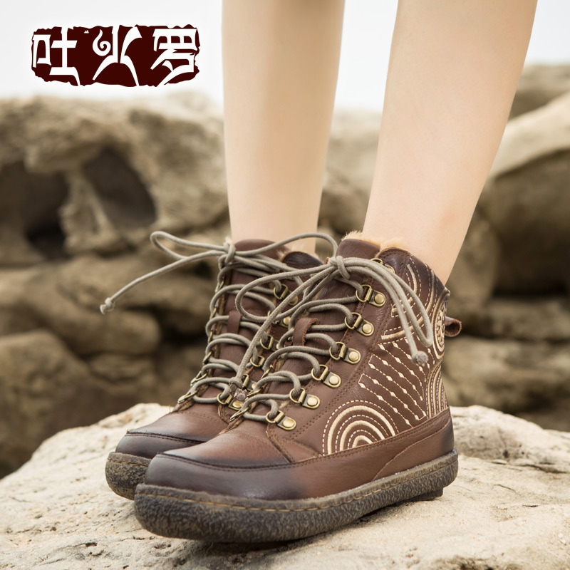 Tocharian original handmade leather casual flat boots 2015 new winter snow boots female short boots 30315