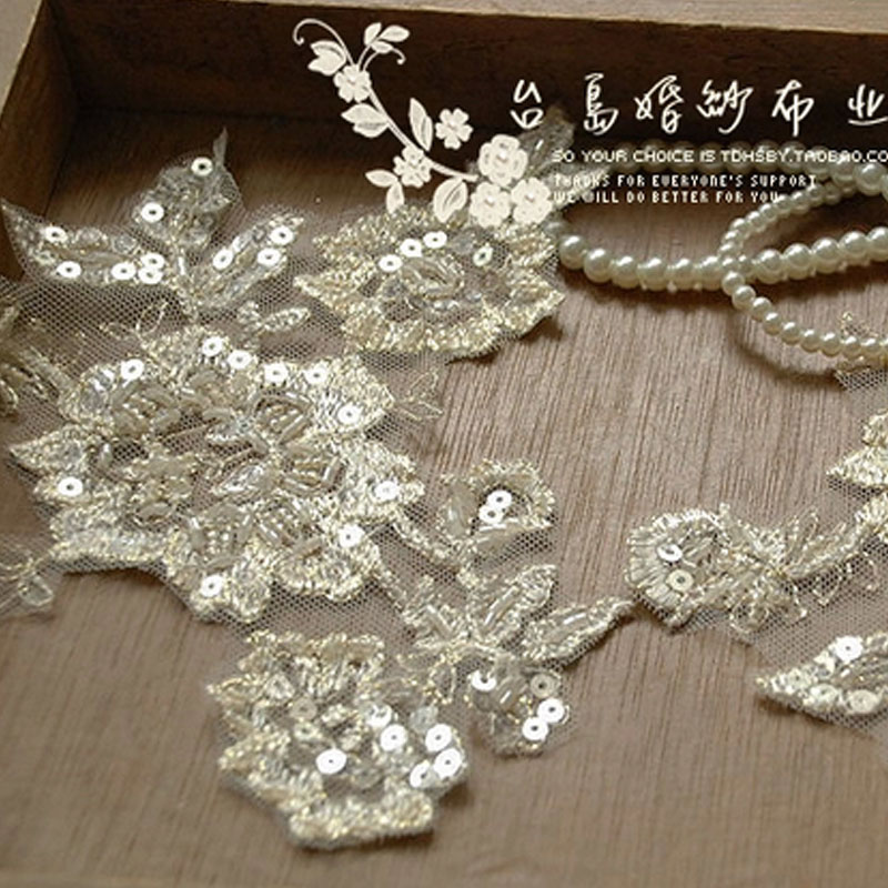 Toi diy handmade line luxury silver car bone lace flower applique flowers on h8 champagne beaded bead accessories set