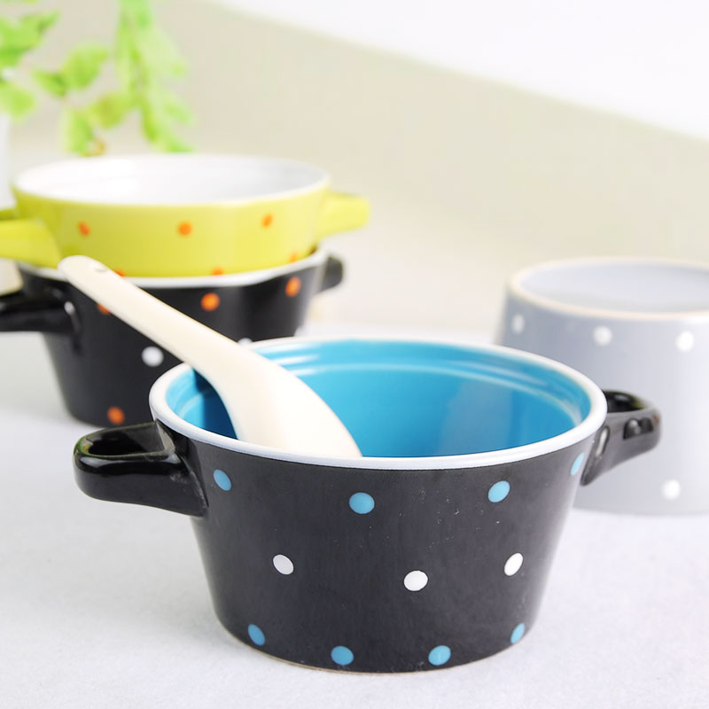 Tong polka dot ears ceramic bowl ceramic bowl of rice soup bowl soup bowl of instant noodles bowl students