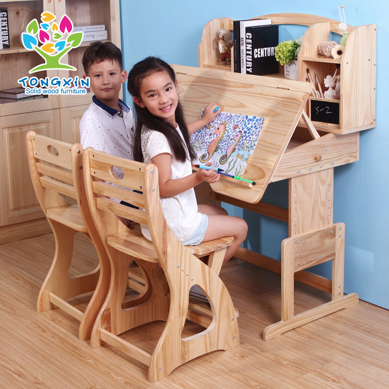 Tong xin pine wood desk for children to learn tables and chairs can lift kit pupils book desk desk children's desk