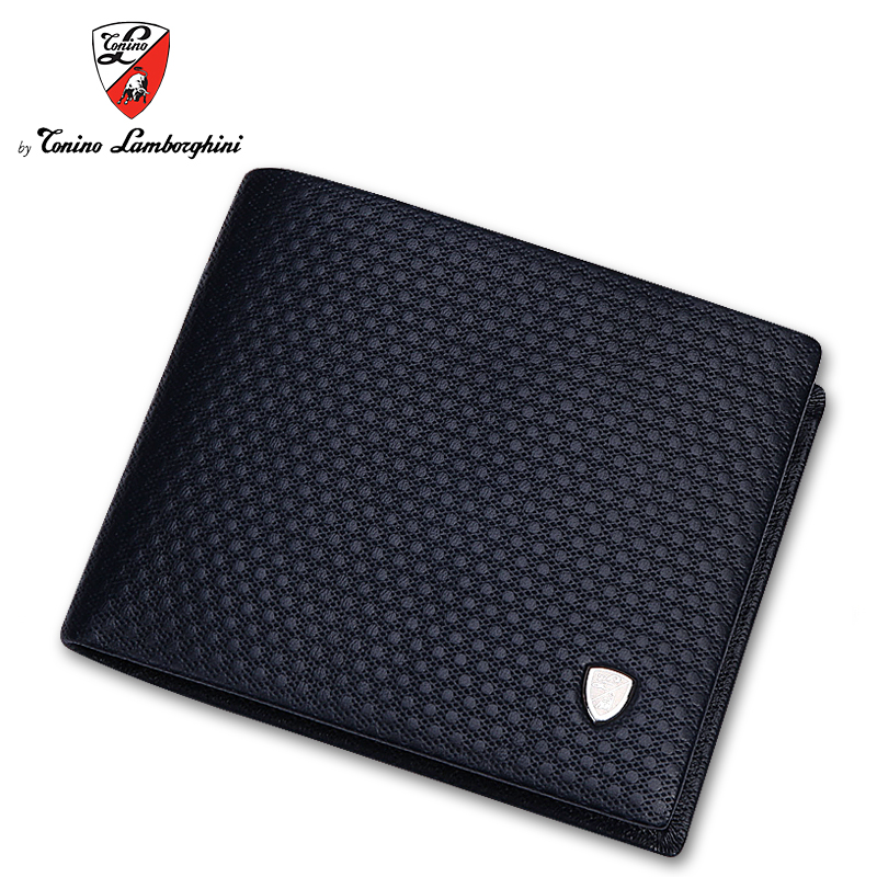Tonino lamborghini/lamborghini men wallet short paragraph cross mens leather wallet young