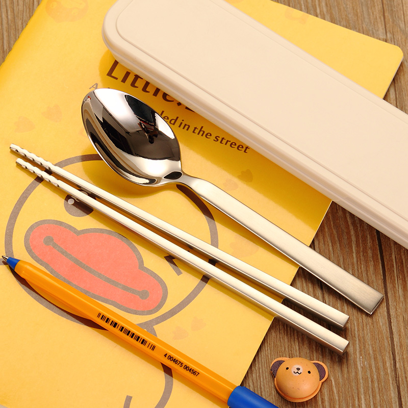 Tony co korean 304 stainless steel cutlery box portable student travel portable chopsticks spoon suit tableware