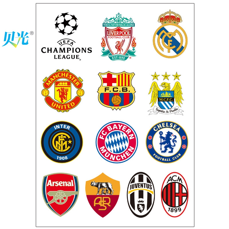 Get quotations · tony light 159 champions league football team logo stickers suitcase stickers laptop stickers dead fly tide