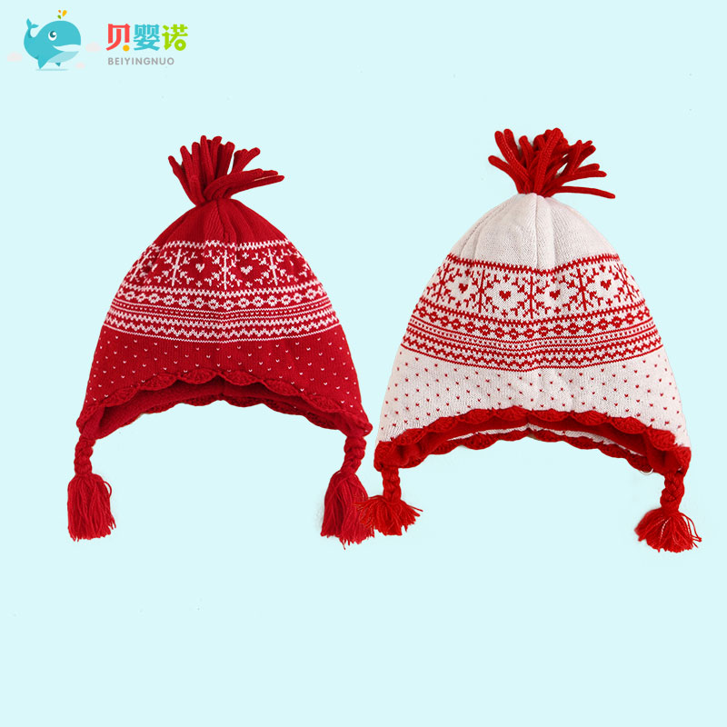 2314ea4b43e6 Get Quotations · Tony snow infant newborn baby hat winter months female  baby knit snowflake jacquard knit cap new