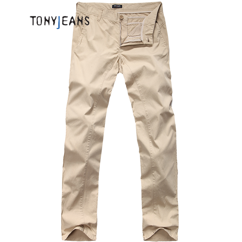 Tonyjeans汤尼俊士twilled patch pocket spring and summer youth men's slim straight casual pants long pants