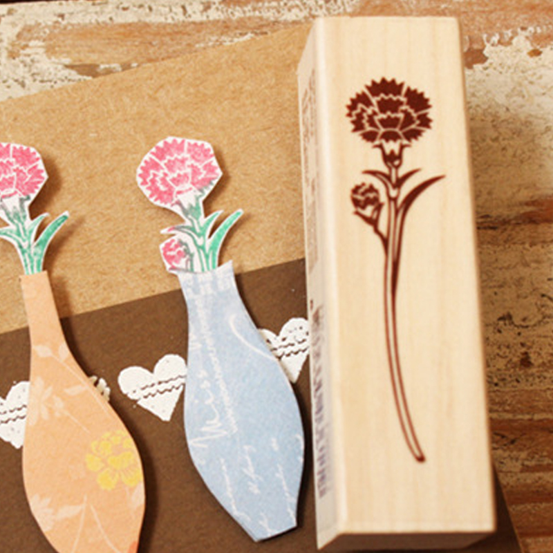 Too adorable rabbit korean flower english greetings wooden flower waist seal rubber stamp leather flower waist seal stamp letter stamp