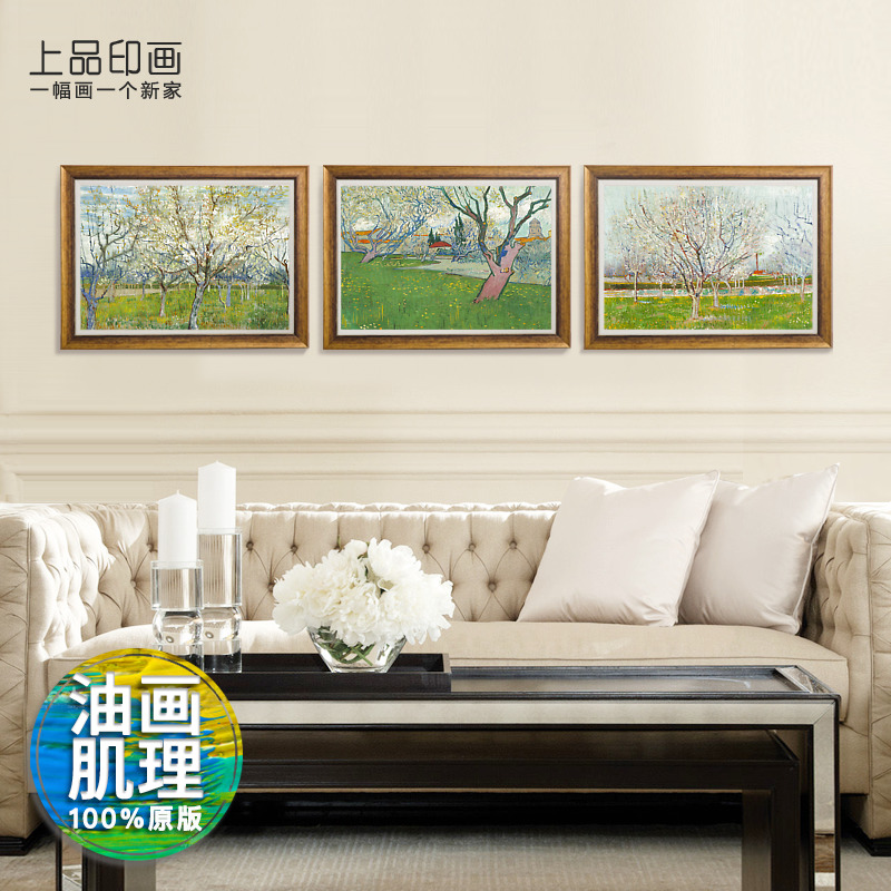 Top grade indian painting van gogh pink orchard sofa backdrop of european modern decorative painting the living room landscape triptych