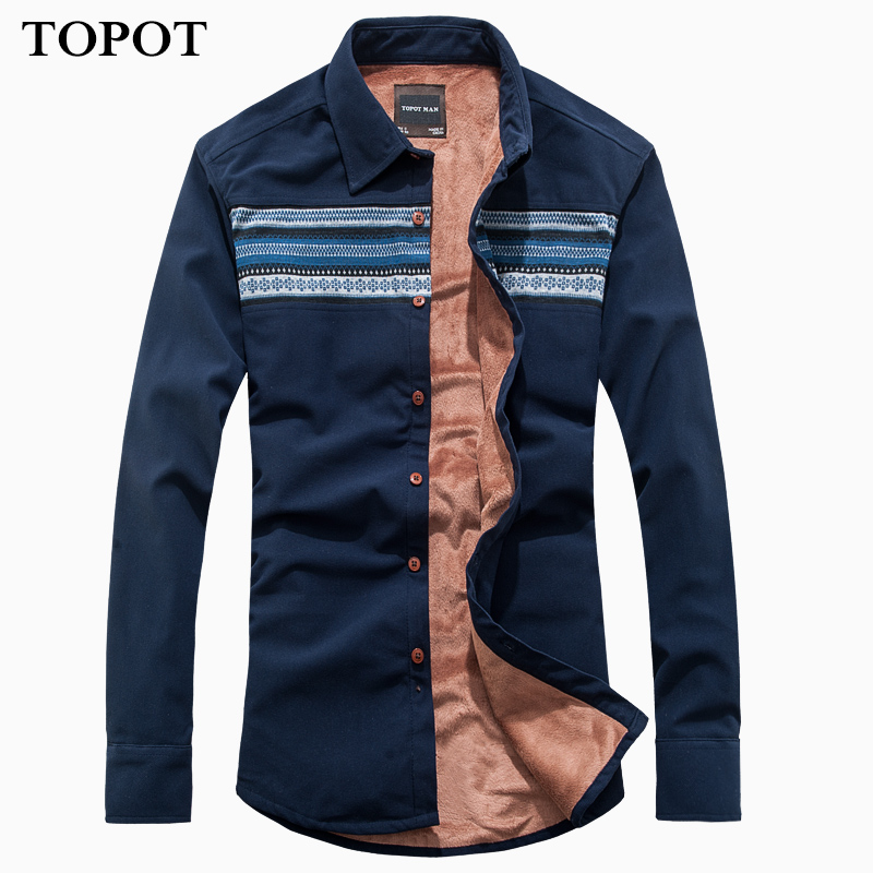Topot2015 new autumn and winter men's warm thick corduroy corduroy shirt long sleeve shirt stitching male