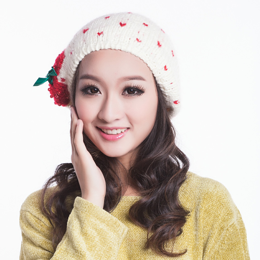 Touch little bow wool hat korean wave of female models female warm winter hat korea korean tide