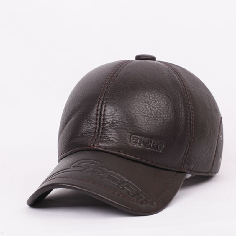 Touch rui leather baseball cap autumn and winter days male paul warm winter cap elderly old hat leather hat leather hat sports Outdoor