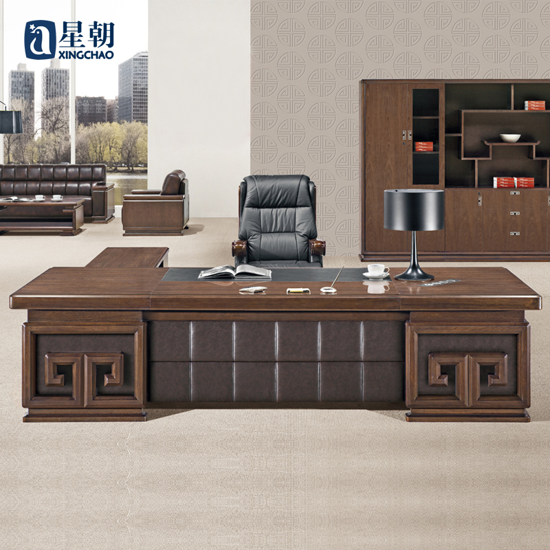 Towards guangzhou office furniture wood upscale leather desk ceo boss desk desk desk manager in charge