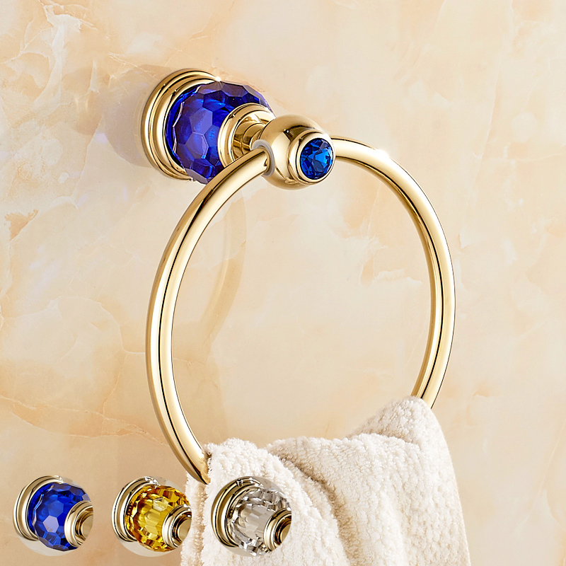 Towel ring towel ring towel hanging towel ring full of copper gold crystal jade ring european towel hanging ring round