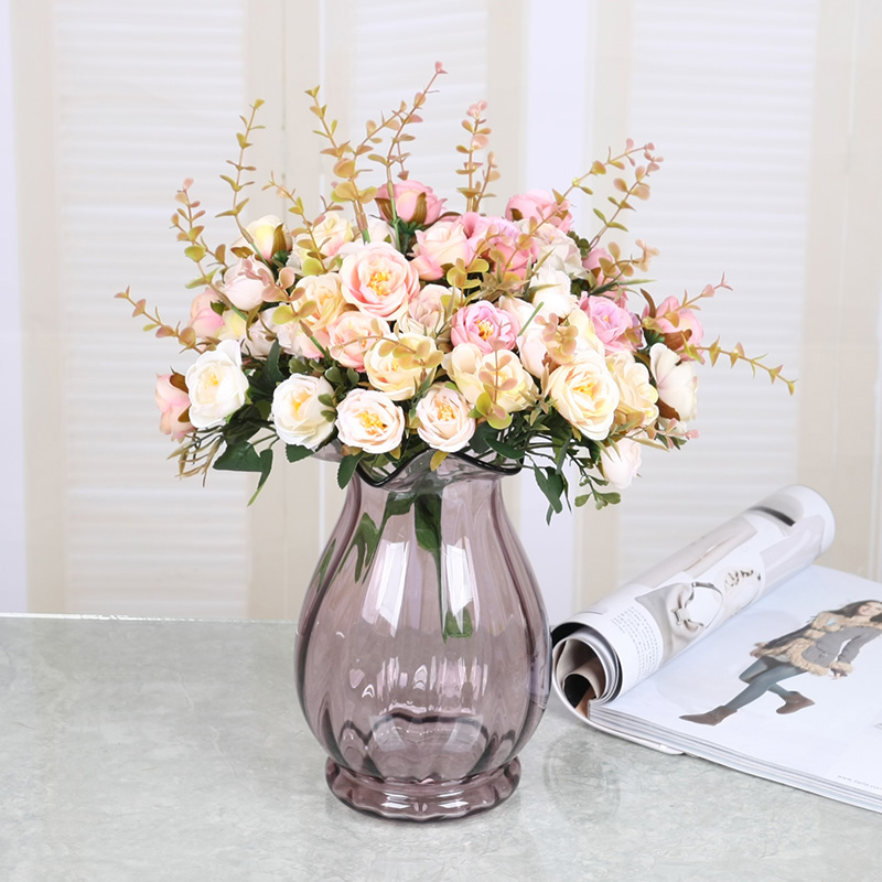 Tqj contadino dried floral silk flower artificial flowers artificial flowers living room bedroom dining decorative flowers artificial flowers european furnishings rose