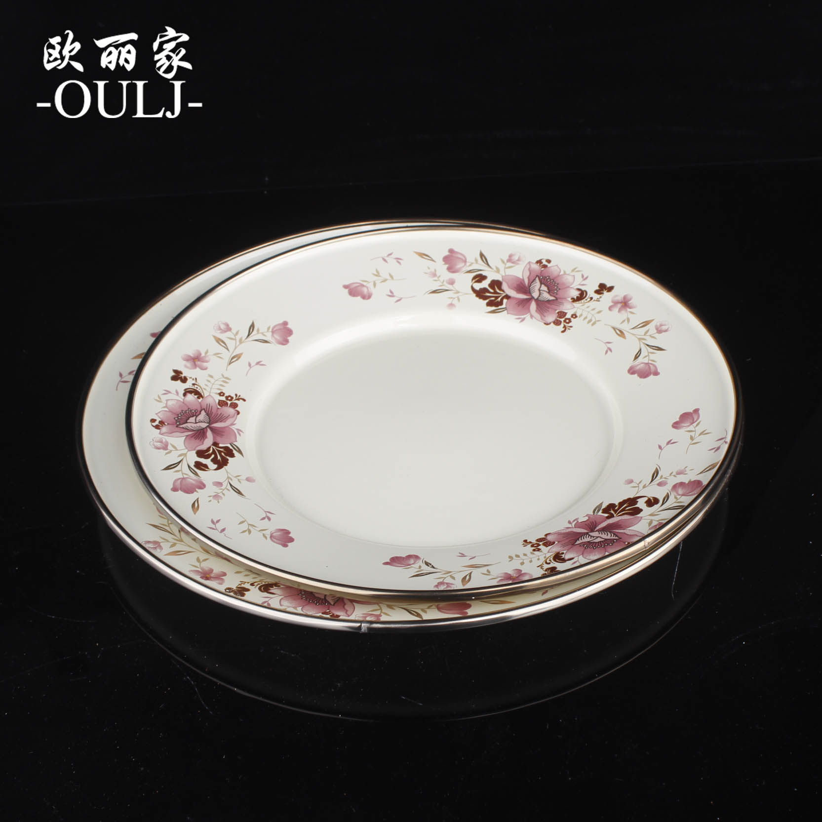 Trade thick enamel pan fashioned traditional enamel enamel enamel dish soup plate disc 22cm