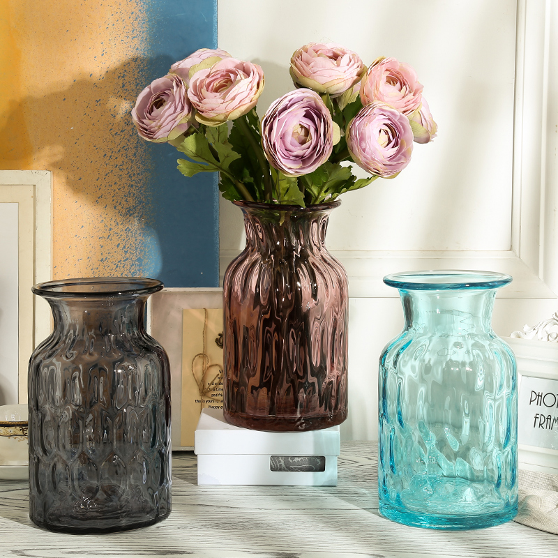 Transparent colored glass vase glass vase european ikea color decorative flower vase ornaments home