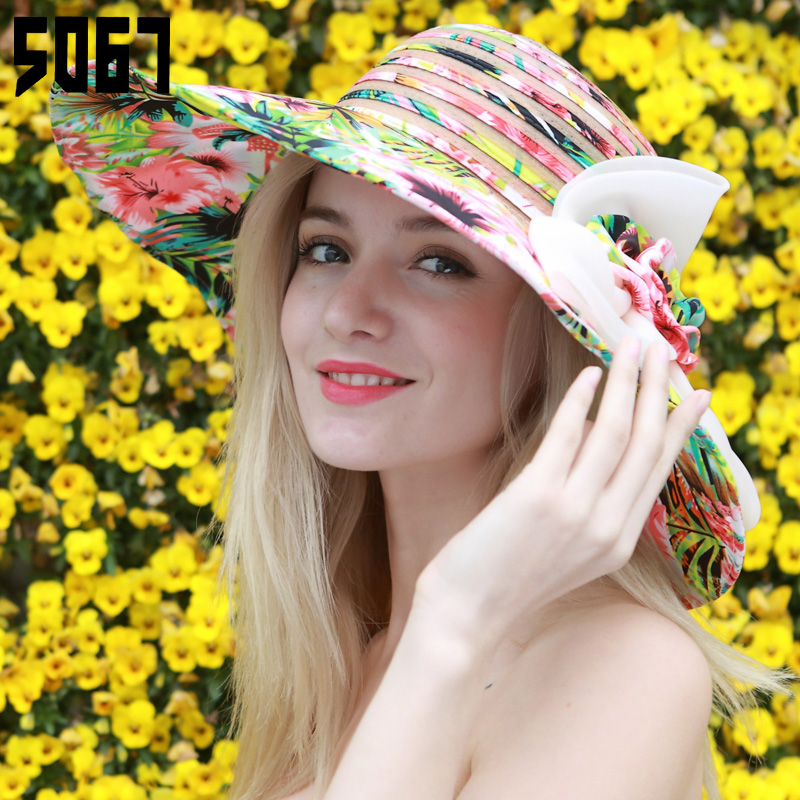 Travel foldable large brimmed sun hat sun hat female korean tidal beach seaside summer sun hat flower hat