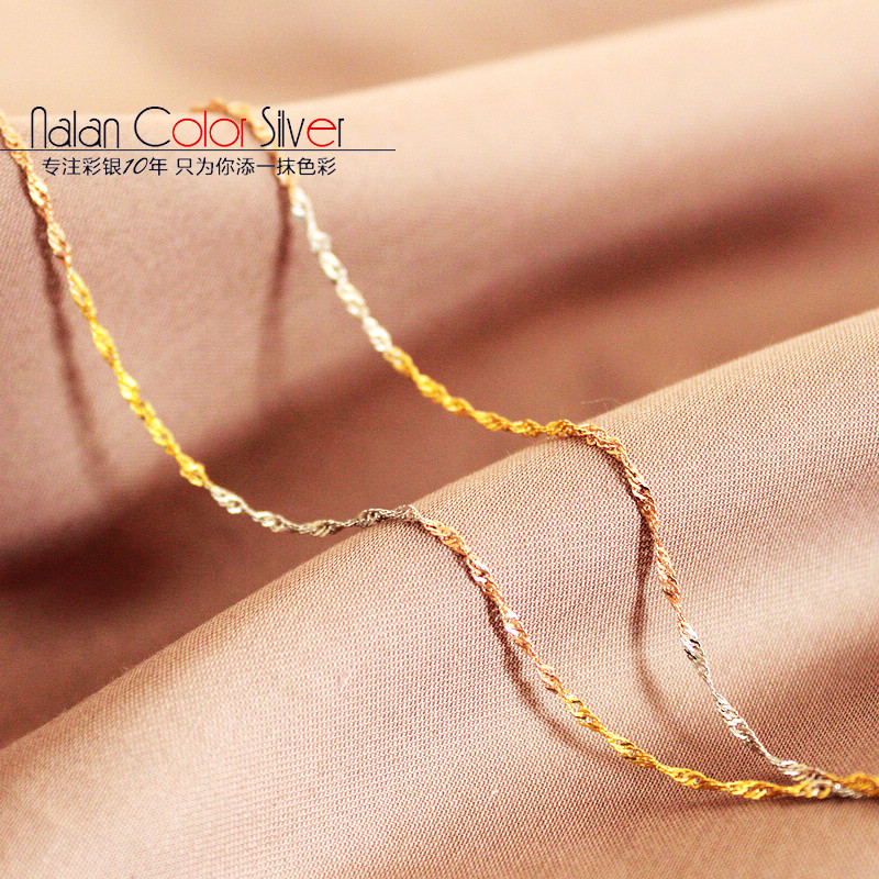 Tricolor wave chain box chain subclavicular 18k-color gold color silver 925 silver necklace female models with short fine ornaments japan and south korea minimalist