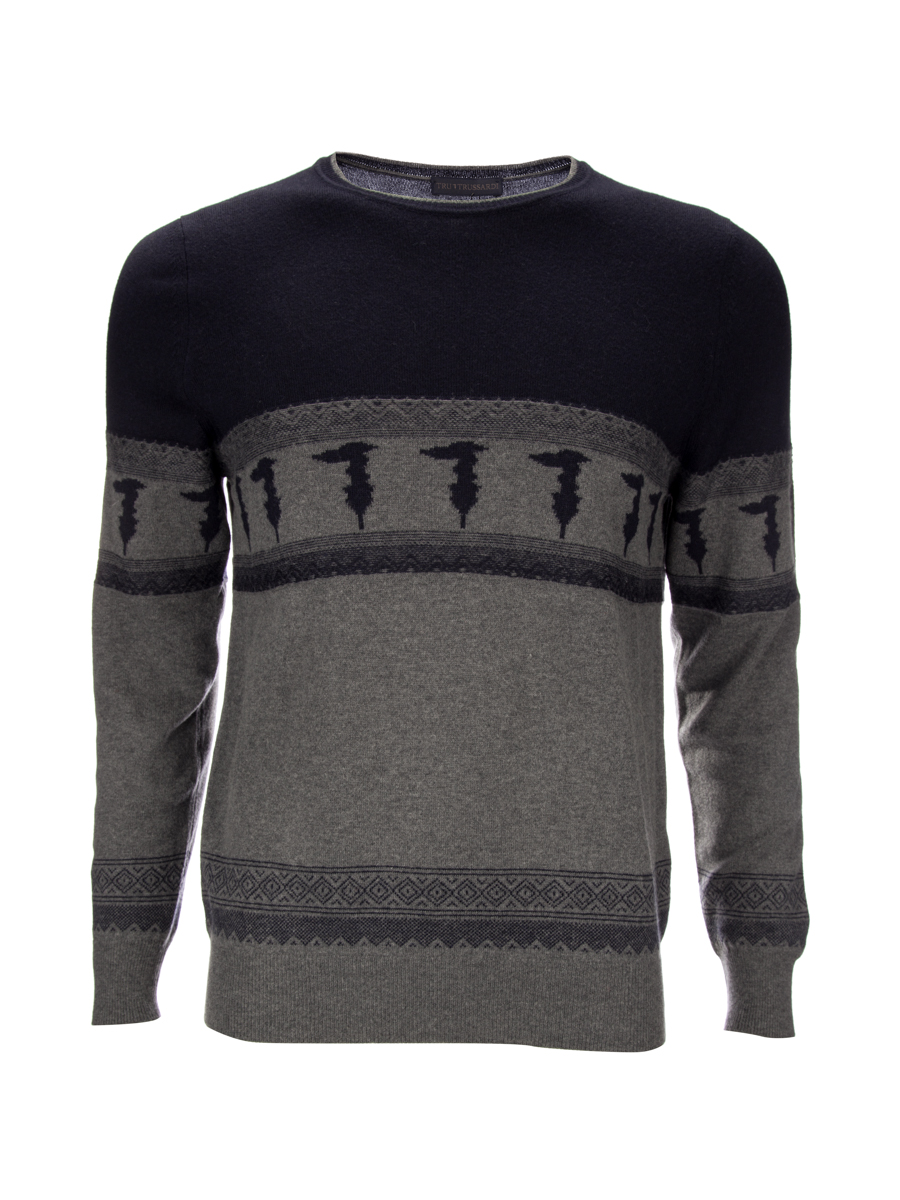Tru trussardi gray pattern pop stitching design knit shirts