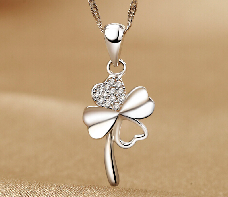 True romance 925 silver clover pendant necklace short paragraph clavicle female korean fashion jewelry free lettering