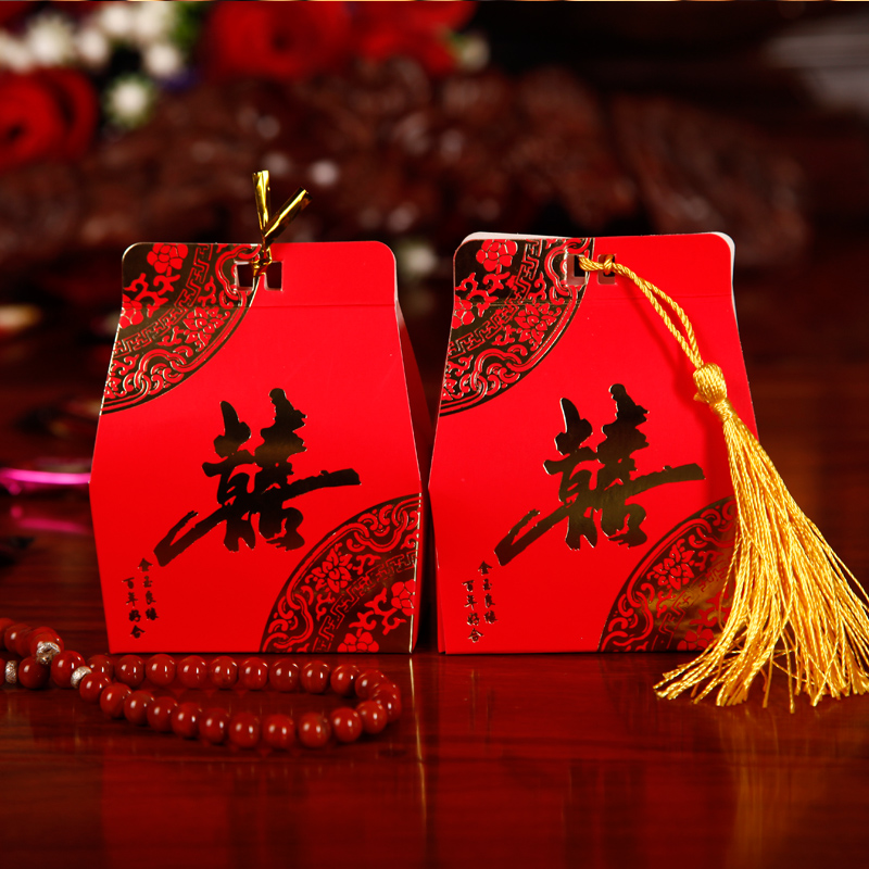 Trumpet chinese candy box candy box chinese style gilt tassels creative wedding supplies wedding candy box candy box small candy box