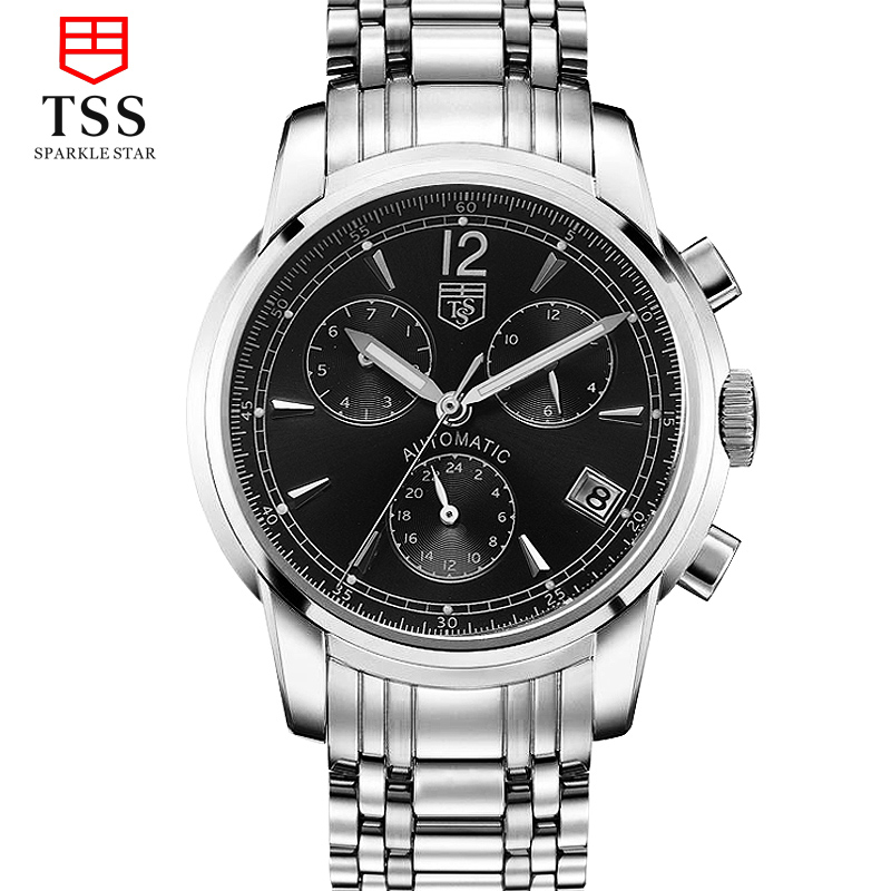 Tss days thinking automatic mechanical watch fashion male table leisure and business waterproof steel belt men's watches