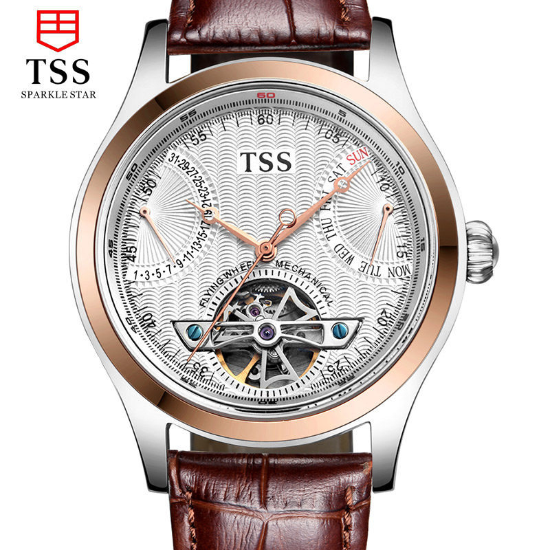Tss days thinking genuine automatic mechanical watch business hollow retro leather belt men's watches men watch stainless steel waterproof