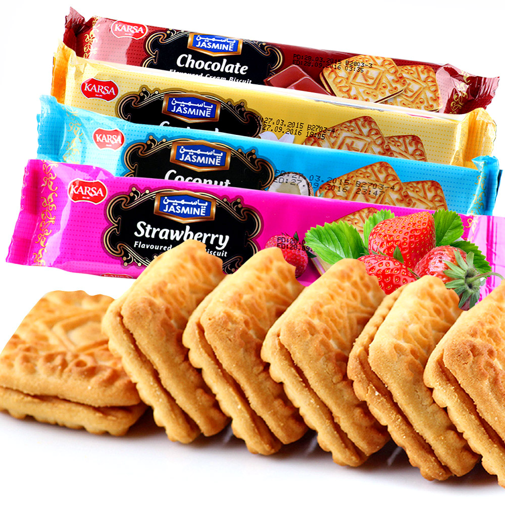 Turkey imported snacks kaka lufthansa sandwich crackers flavored milk 72g vanilla/strawberry/coconut/chocolate